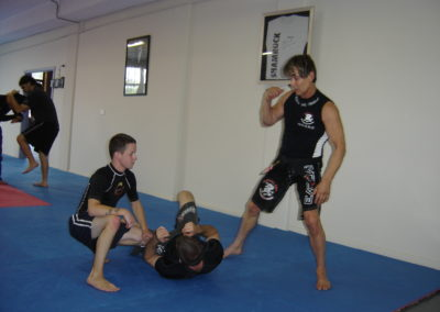 Jacob training with Richard Norton & friend.